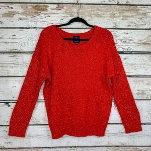 Sz XL American Eagle Red & Gold Boyfriend Sweater